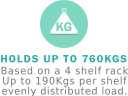 Up to 760kgs per rack UDL