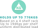 Up to 776kgs per rack evenly distributed load.