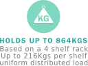 Up to 864kgs per rack evenly distributed load.